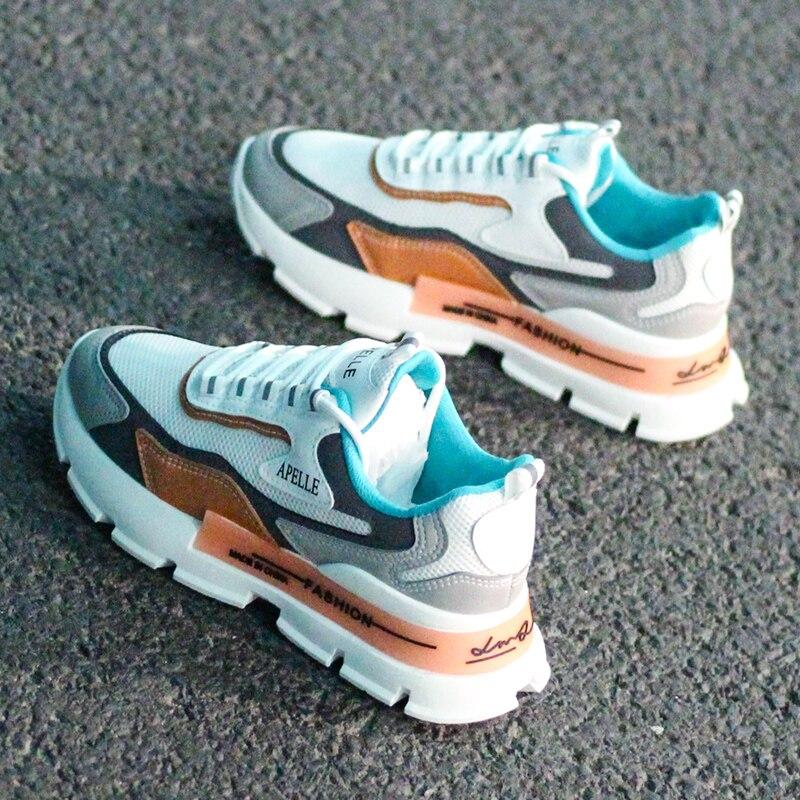 Женские кожаные кроссовки на массивной подошве, Белые Повседневные кроссовки в стиле Харадзюку на плоской толстой подошве, для теннисных прогулок|Кроссовки и кеды| | АлиЭкспресс