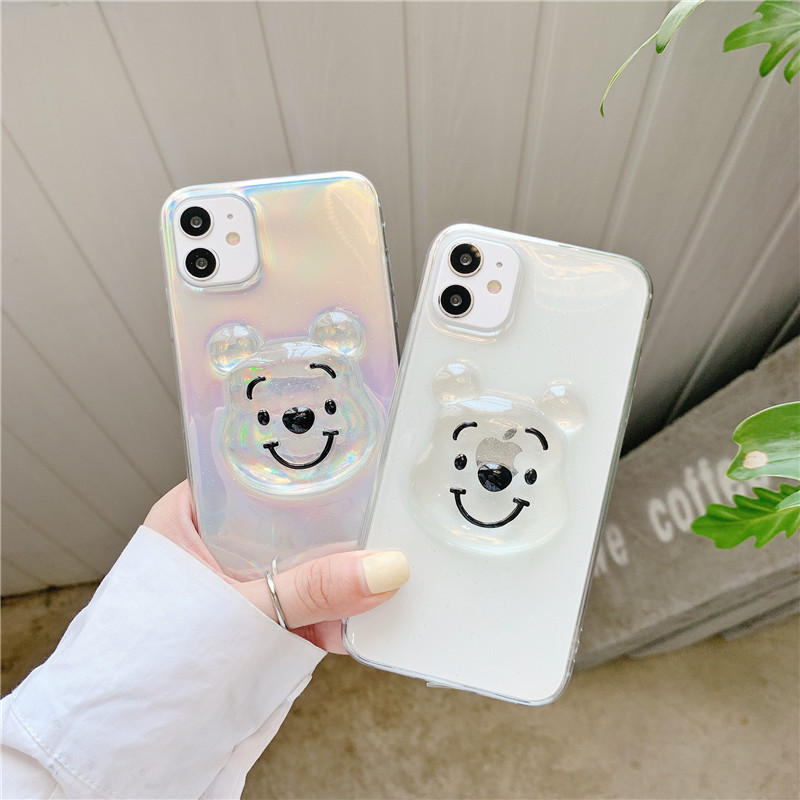 Cute 3D Cartoon Bear Glitter Flakes Phone Cases For Iphone 12 12Mini 11 Pro XS Max SE X XR 7 8 Plus Clear Soft Silicone Cover