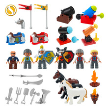Original Medieval Knight Castle Big Building Block Simulated War Horse Armor Artillery Accessories Toys For Children Boy Gift