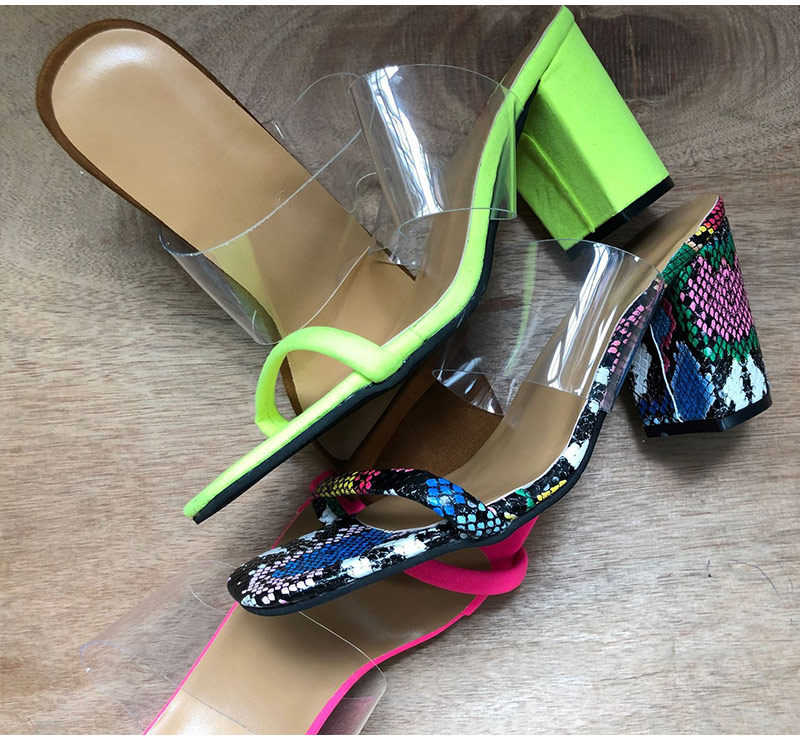 H857ed691f1a4426bb84b703a0a11bd33e MCCKLE Women Transparent Sandals Ladies High Heel Slippers Candy Color Open Toes Thick Heel Fashion Female Slides Summer Shoes