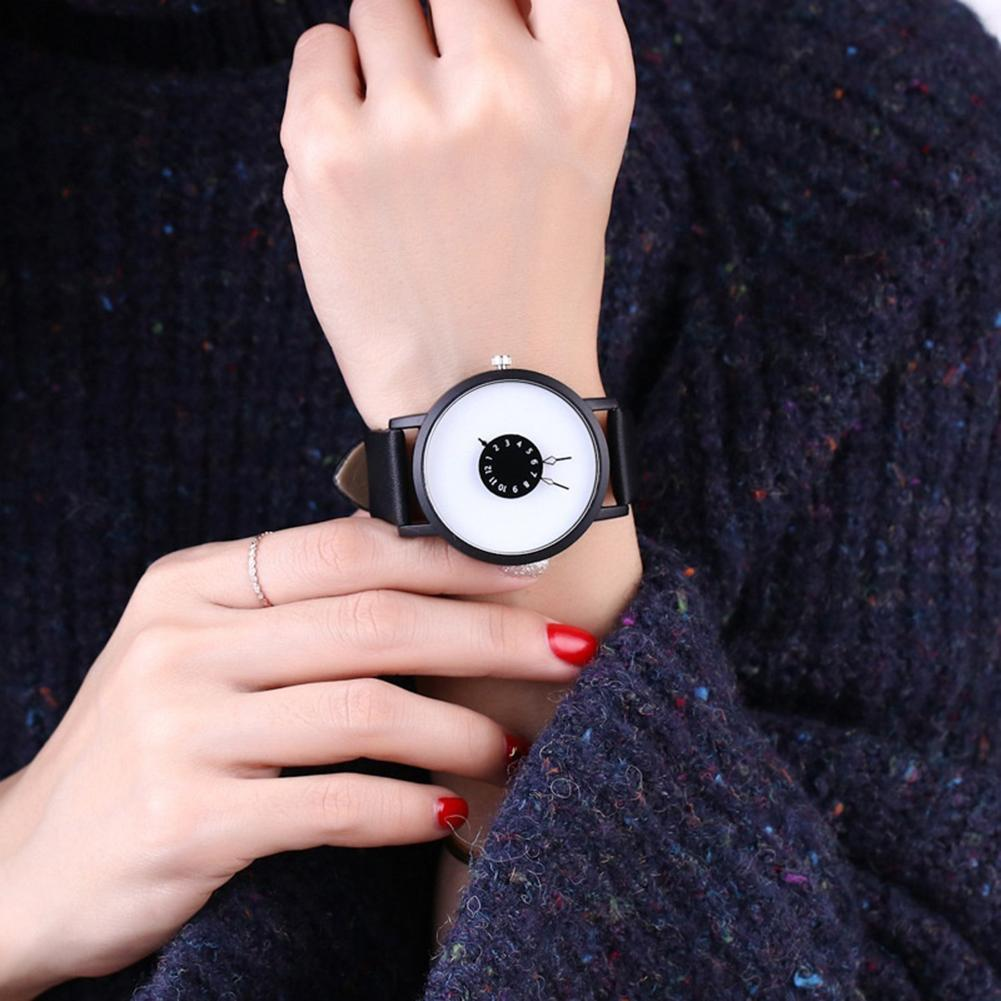 Lovers Casual Watches Round Turntable Dial Faux Leather Quartz Wrist Watches Clock Gift Personality Creative Belt Couple Watch