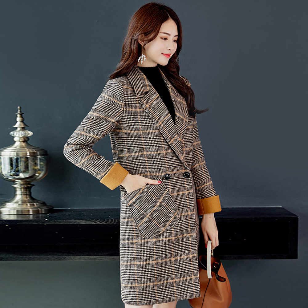 Feitong 2019 女性トレンチコートチェック柄のファッションヴィンテージ冬暖かい長袖ボタンウール Professtional ロングトレンチジャケットコート