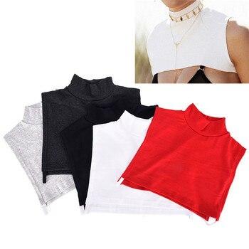 Mujeres Collar gargantilla de moda Collar de algodón de cuello alto falso desmontable 28*7 CM 5 colores