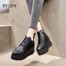 Byqdy/женские ботинки на платформе мотоботы из лакированной