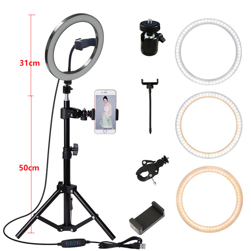 10inch 26cm Photography Lighting Phone Ringlight Tripod Stand Photo Led Selfie Bluetooth remote Ring Light Lamp TikTok Youtube Live