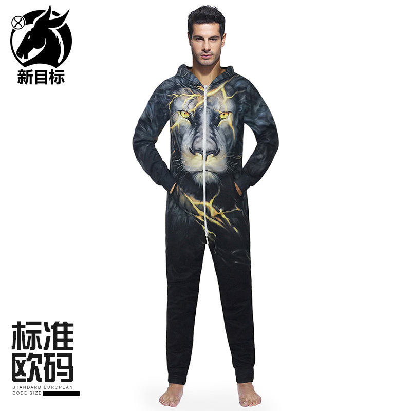 Cross Border 2019 Autumn And Winter New Style Large Size Onesie Home Couple Clothes Creative Lightning Lion Printed Hooded Coat