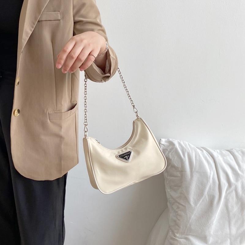 2020 Retro Women Baguette Bag Female Handbags Hobos Purse Ladies Small Shoulder Bags Moon Vintage Bags Nylon Luxury Chain Bag