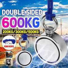 Мощный круглый неодимовый магнит, 600 кг, для поиска крючков, морское рыболовное снаряжение, держатель, вытяжной монтажный прибор + 10 м веревк...