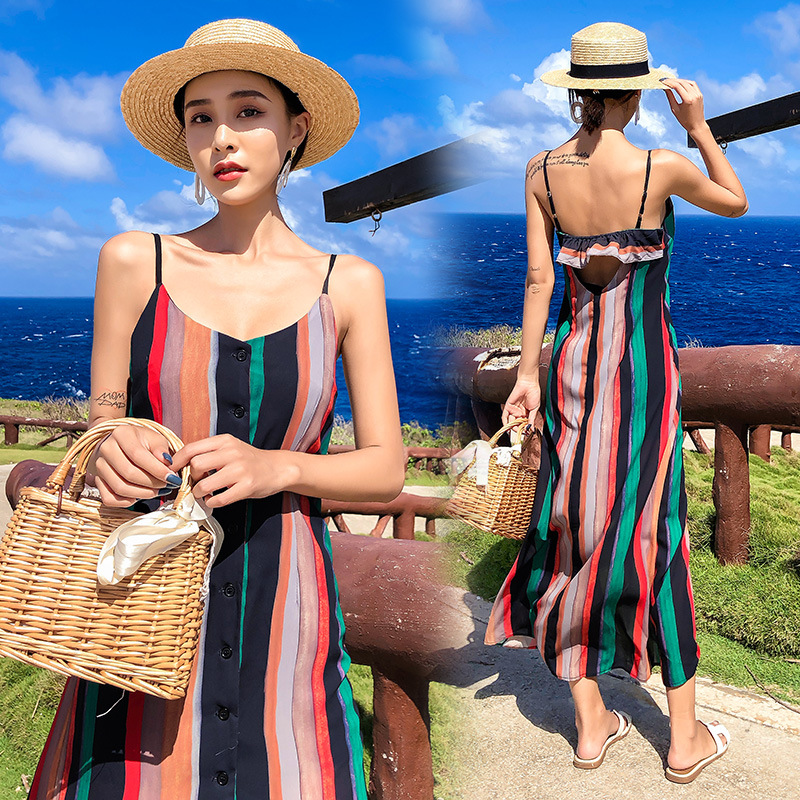 Maldives Seaside Holiday Chiffon Beach Dress Long Skirts Backless Slimming Stripes Strapped Dress