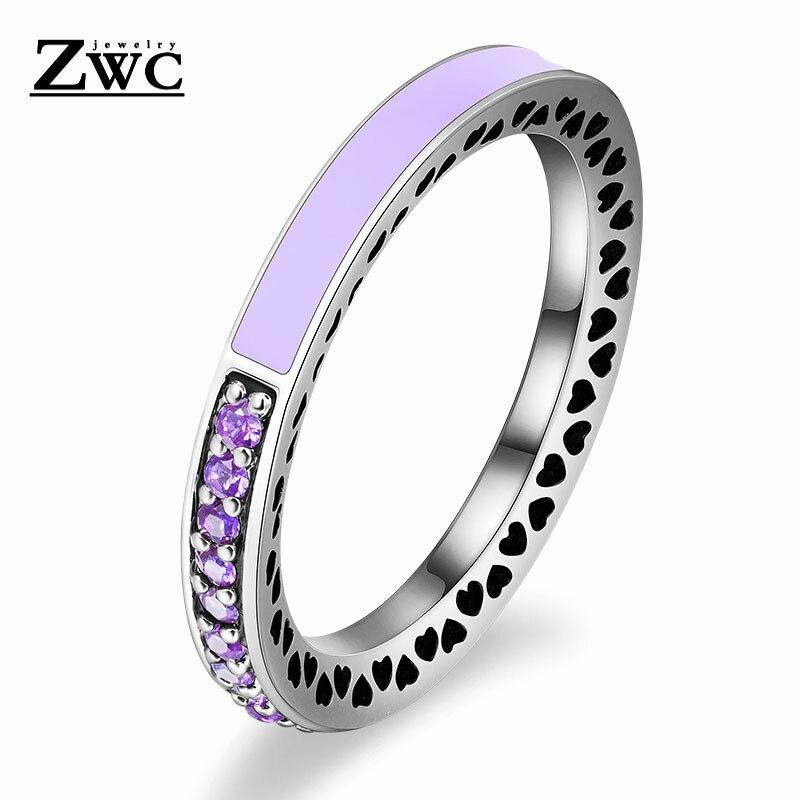 ZWC модный Сияющий светильник в виде сердец с розовой эмалью и прозрачным CZ кольцом на палец для женщин, кольца с кристаллами из медного сплава, ювелирные изделия в подарок - Цвет основного камня: LightPurple