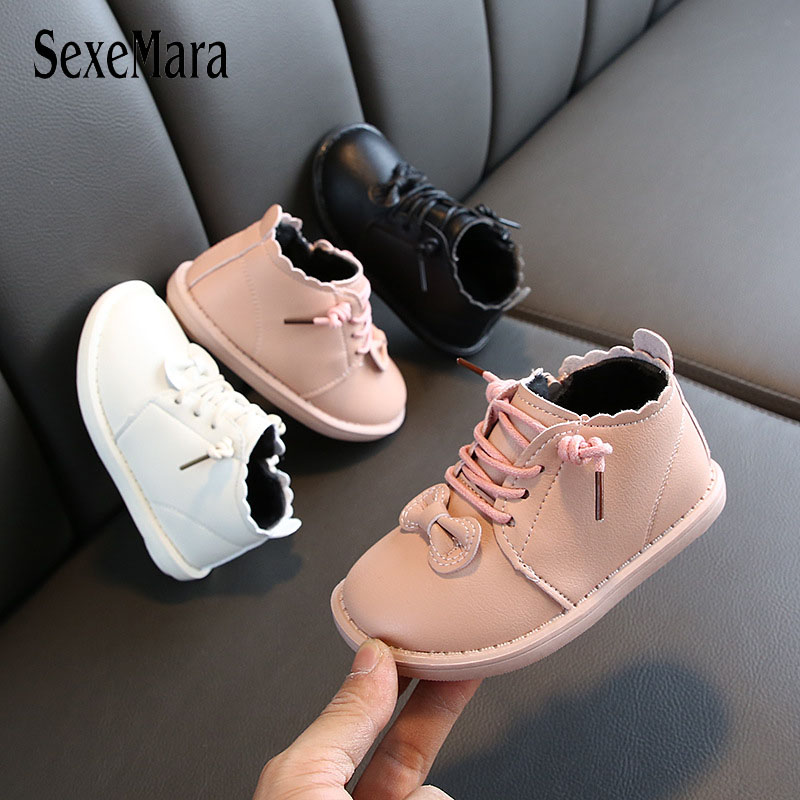 2019 Winter The Latest Bow Girl Shoes Leather Soft Bottom Baby Princess Shoes Children Warm Cotton Shoes Elastic Boots C09232