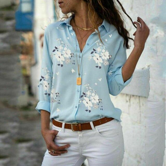 Plus size Autumn hot sale Temperament commute Women's Long Sleeve Casual Loose Tops Ladies Plain Button Blouse Shirts 3