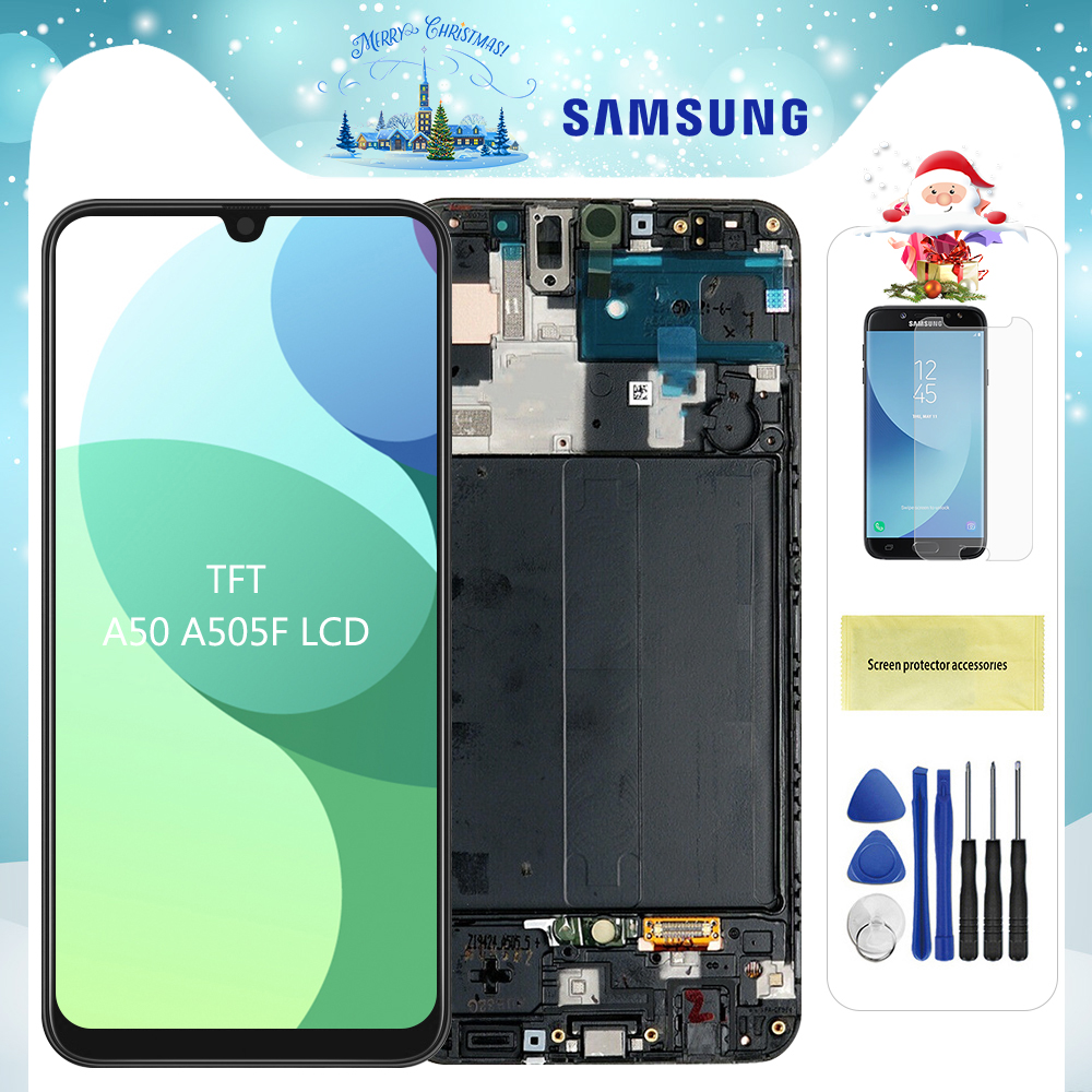 <font><b>Display</b></font> For <font><b>Samsung</b></font> Galaxy <font><b>A50</b></font> <font><b>LCD</b></font> Touch Screen Digitizer Assembly with Frame For <font><b>Samsung</b></font> galaxy a5 2019 A505F/DS A505F A505FD image