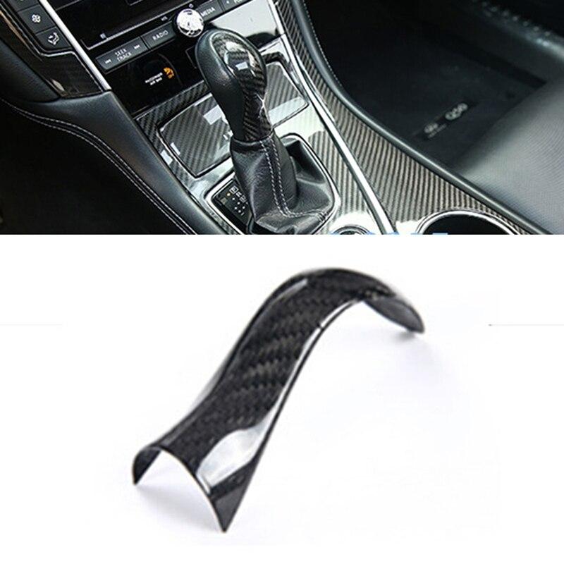 Haute qualité pas de décoloration en Fiber de carbone pommeau de changement de vitesse couvre-tête garniture accessoires de voiture pour Infiniti Q50 Q50L 2014-2018