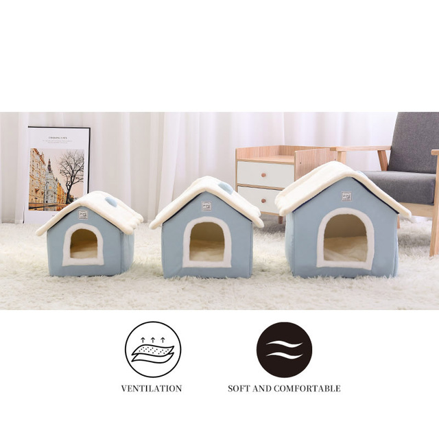 HOOPET Dog House Indoor Warm Kennel Pet Cat Cave Nest Rabbit Nest Washable Removable Mat Cozy Sleeping Bed For Cats 2