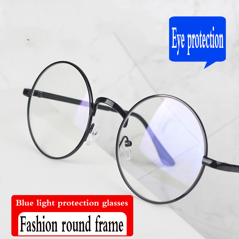 Модная круглая оправа анти-синий светильник очки для компьютера очки для игры персональные прозрачные линзыочки для защиты глаз очки защит...