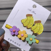 2Pcs/set Fruit Flower Hair Clips For Girls Princess Metal Pins Kids BB Baby Hairpin Barrettes Childern Accessories New