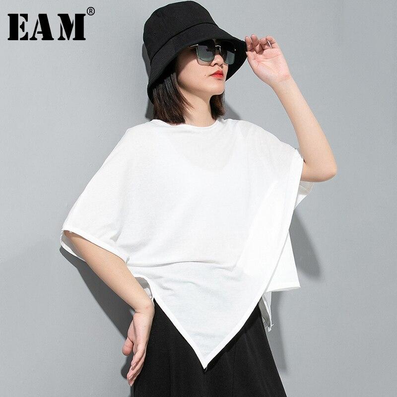 [EAM] Women Gray Multicolor Brief Temperament Big Size T-shirt New Round Neck Half Sleeve Fashion Tide  Spring Summer 2020 1U042