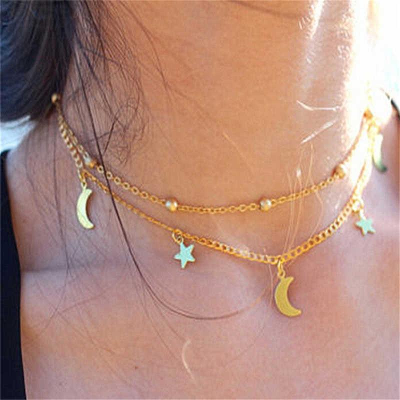 Baru Double-Deck Bulan Bintang Pola Kalung Sederhana Pendek Rantai Perak Emas