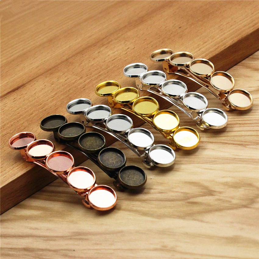 Copper 12mm Hairpins Round Blank Cabochon Settings Hair Snap Clips For DIY Making Accessories Length:68mm 2.67inch 5pcs K06194