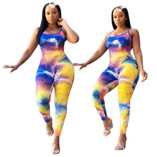 Jumpsuit Women Summer 2020 Tie Dye Jumpsuit Sexy Rompers Overalls One Piece Jumpsuit Macacao Feminino Mono Mujer Salopette Femme