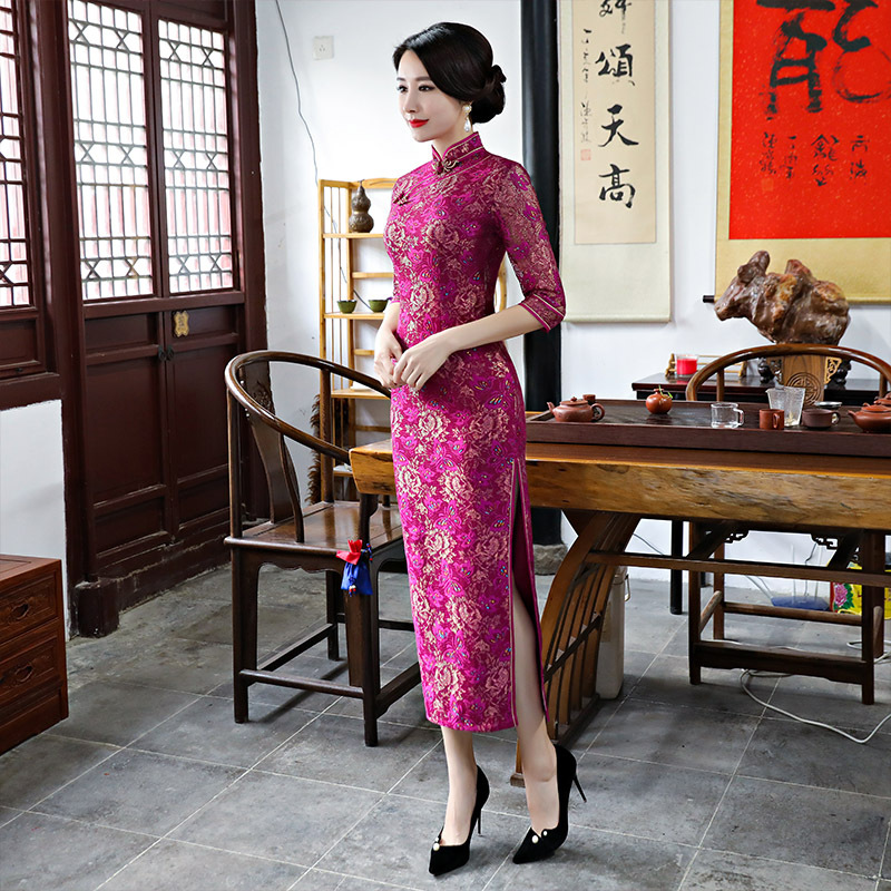Cross Border Dress Summer 2019 New Style Lace Cheongsam Long Sequin Slim Fit Improved Middle-aged Women Dress Formal Dress