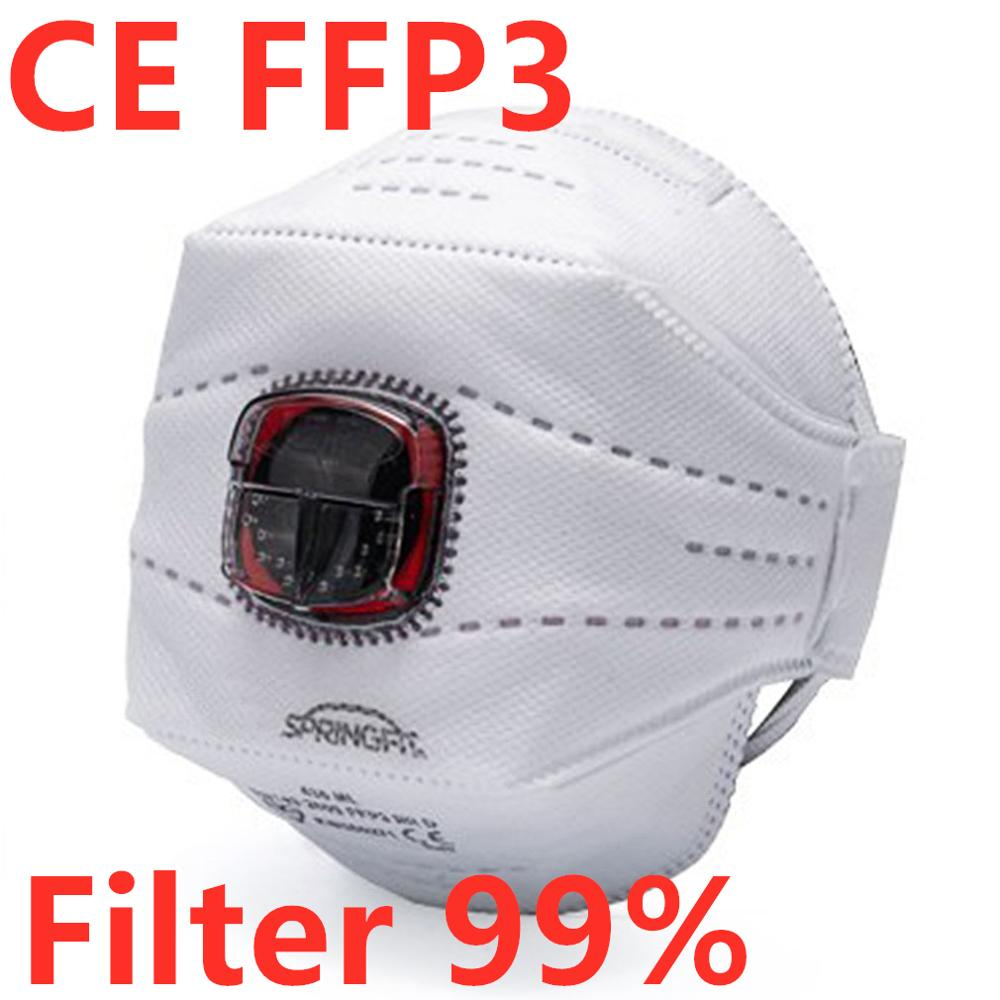 In Stock! Ffp3 Mask With Valve CE Non-woven Dust Mask Anti PM2.5 Breathing Bicycle Riding Mask Safety Masks Hot Sale Block 99%