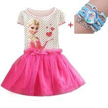 Новые платья для девочек от 2 до 7 лет vestidos, платье Эльзы детская одежда Снежной Королевы летнее кружевное праздничное платье принцессы Анны для девочек