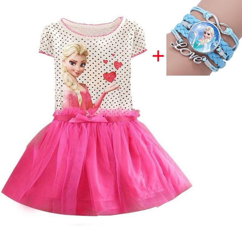 Kids 2-7years New Girls Dresses Vestidos Elsa Dress Kids Snow Queen Children Clothing Summer Girl Lace Princess Anna Party Dress