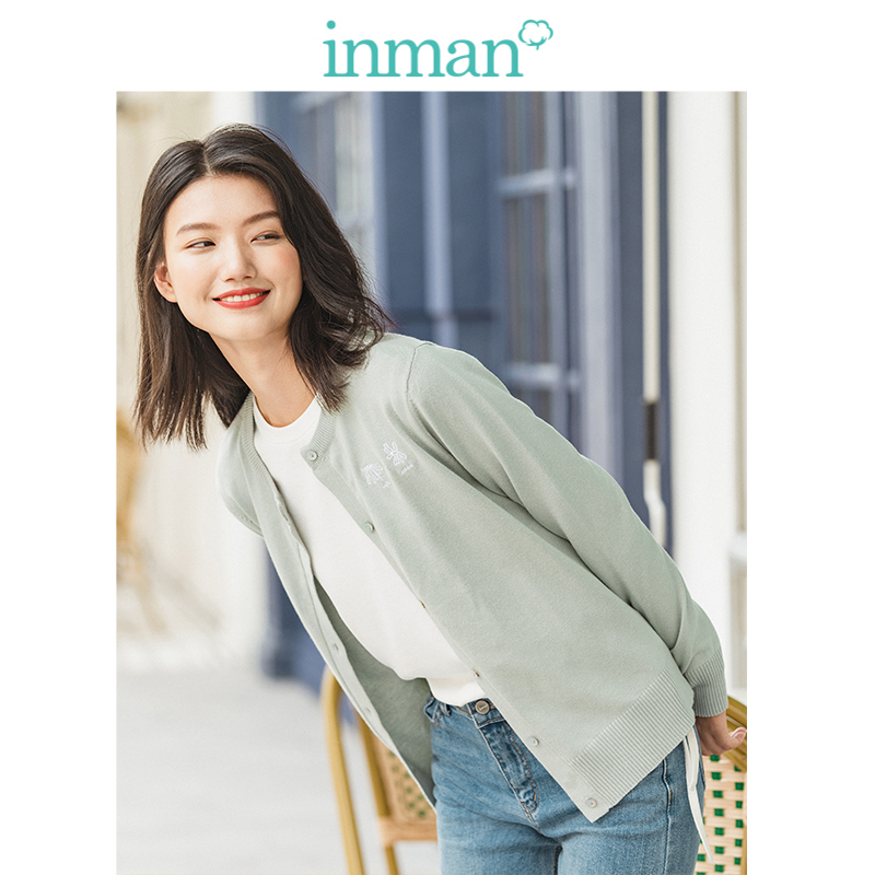 INMAN Spring Autumn Winter Embroidery O-neck Solid Literary All Matched Women Cardigan