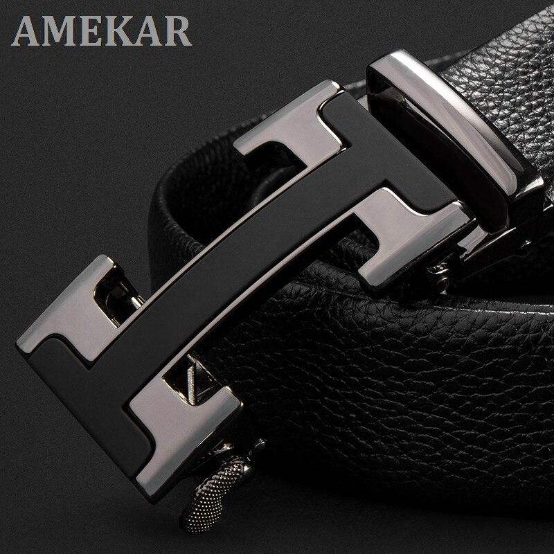 Ремень MP02801P мужской с автоматической пряжкой, люксовый кожаный черный дизайнерский брендовый