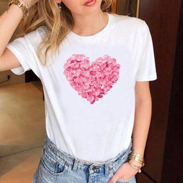 Heart Print T Shirt Women  1
