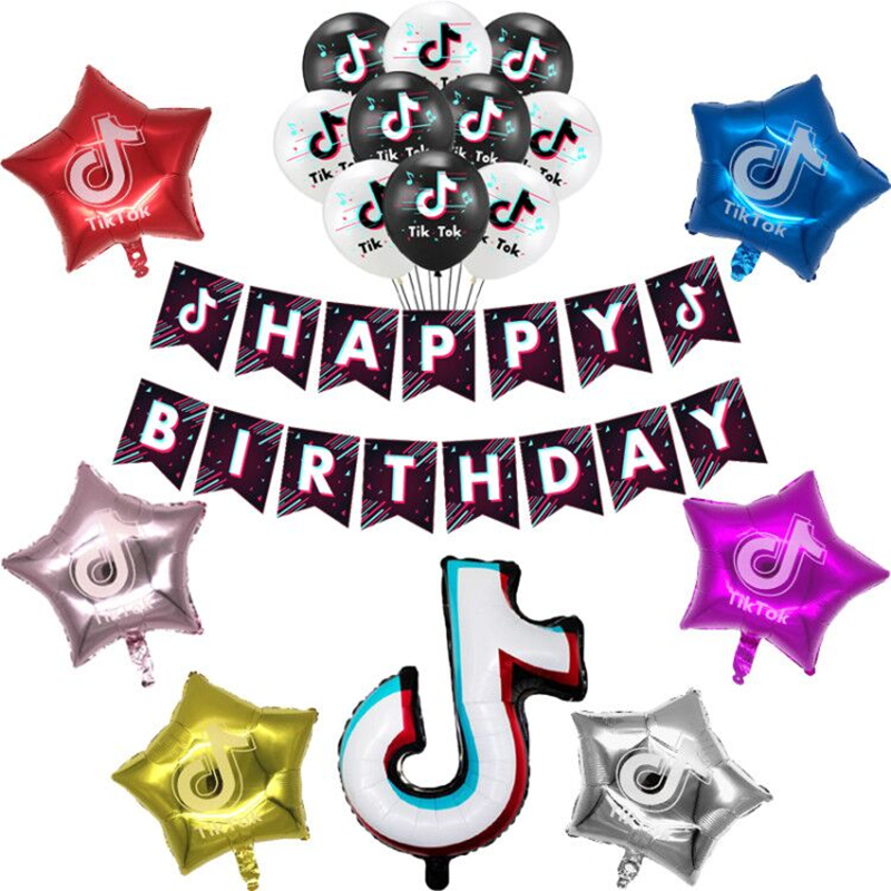 Тик тема фольгированные шары в виде скрипичного ключа, латексные воздушные шары с днем рождения баннер украшение для вечеринки вентиляторы для танцевальной вечеринки телефон блоки игрушки-0
