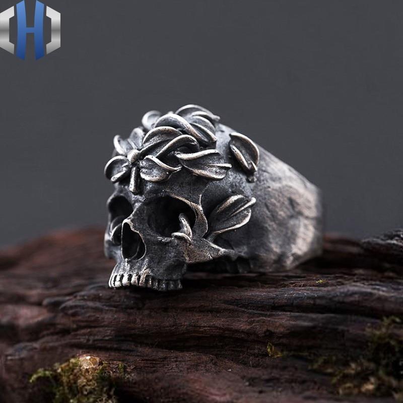 Bague crâne S925 argent Sterling Locomotive roche côté foncé fleur dos rond crâne fait à la main anneau anneau