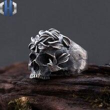 Skull Ring S925 Sterling Silver Locomotive Rock Dark Side Flower Round Back Skull Hand-made Ring Ring цены
