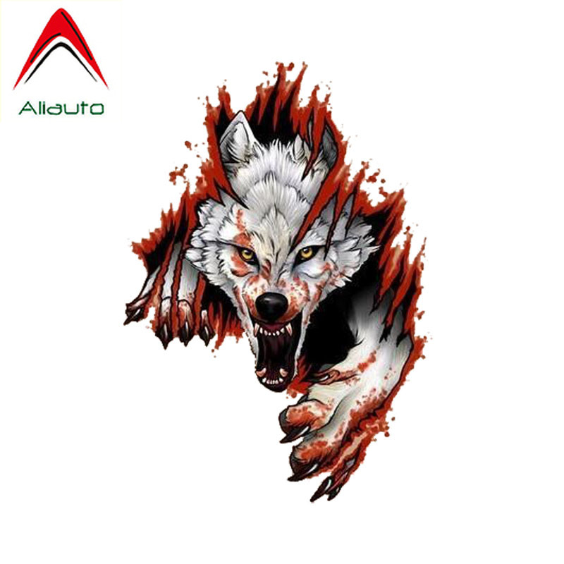 Aliauto Cartoon Motorcycle <font><b>Car</b></font> <font><b>Sticker</b></font> Funny <font><b>Angry</b></font> Wolves Decoration Personality Sunscreen Waterproof Decal PVC,15cm*10cm image