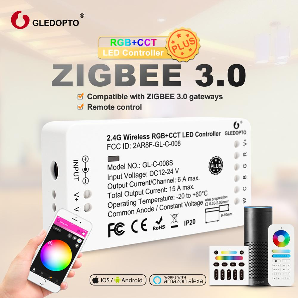 GLEDOPTO ZigBee 3.0 RGB+CCT LED Strip Controller Plus DC12-24V Work With Zigbee3.0 Gateways SmartThings Echo Plus Voice Control