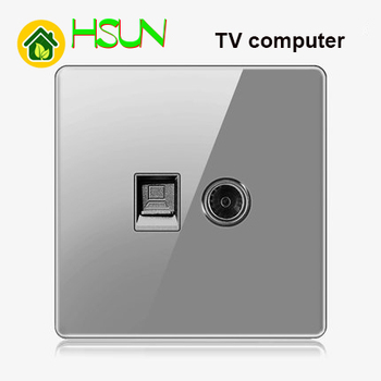 High-grade 1 2 3 4 gang 1 2 way big panel Grey switch socket Type 86 Wall 2.5D Cambered Mirror Toughened glass Computer TV 9