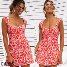 Women Fashion Summer Short Mini Dress Casual Sleeveless Party Cocktail Ladies Flower Sundress Ruffles Dresses S-XXL