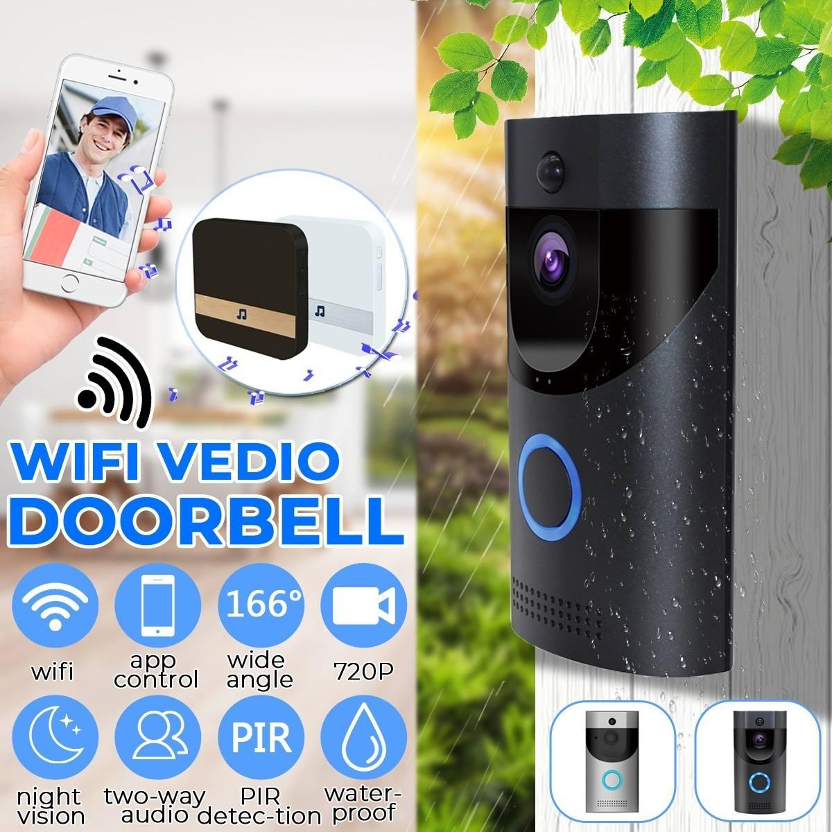 Smart Video Wireless WiFi Door Bell Remote Control Night Vision IR Visual Camera Security System WIFI Doorbell Waterproof
