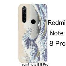 Sanat kabartma fırçalayın japon Kanagawa dalga sert kılıf kapak için XIAOMI redmi note 8 Pro redmi not 8 vaka
