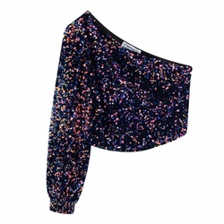 Nieuwe 2020 Vrouwen Sexy Een Schouder Asymmetrische Pailletten Blouse Shirt Vrouwen High Street Side Rits Chic Blusas Femininas Tops LS6081