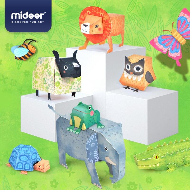 MiDeer Baby DIY Spielzeug Origami Tiere Modell 3D Räumliche Fokus Vertrauen Phantasie Simulation 3-6Y Papier-Cut Spielzeug