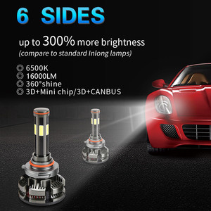 Image 2 - חדש הגעה H7 Led ללא שגיאה H4 רכב פנס נורות H11 LED H8 HB3 9005 HB4 9006 מנורת 6500K 12V 16000LM אוטומטי Led ערפל אורות