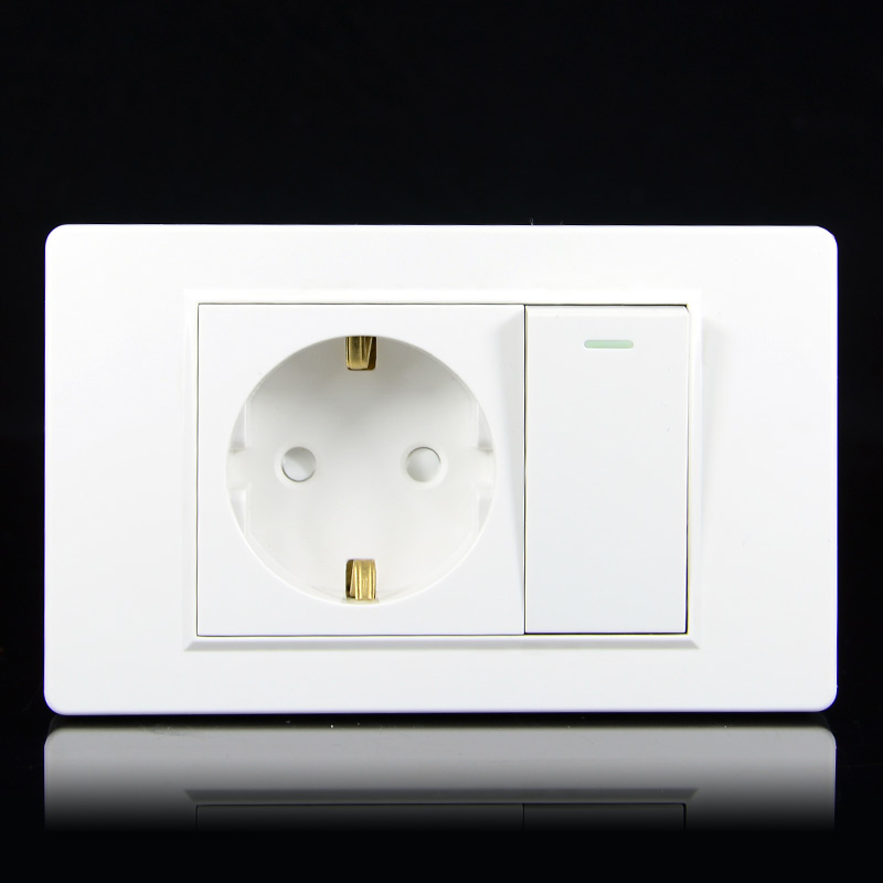 EU Household German Standard 2-hole Power Plug Wall Socket With 1Gang 1Way Switch 118 *74mm PC Flame Retardant Panel 16A