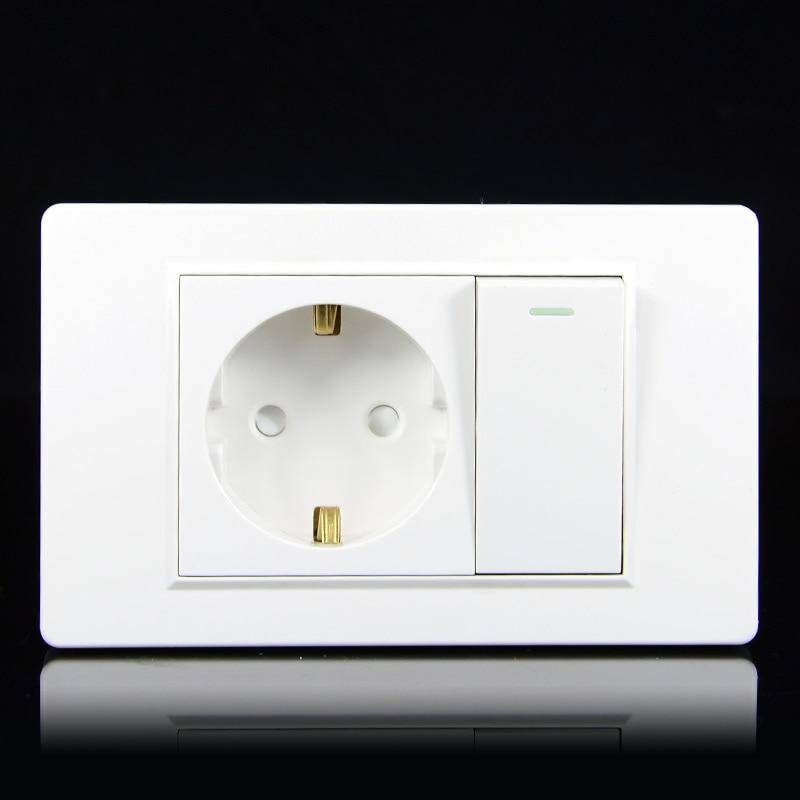 EU Household German Standard 2-hole Power Plug Wall Socket With 1Gang 1Way Switch 118 *74mm PC Flame Retardant Panel 16A