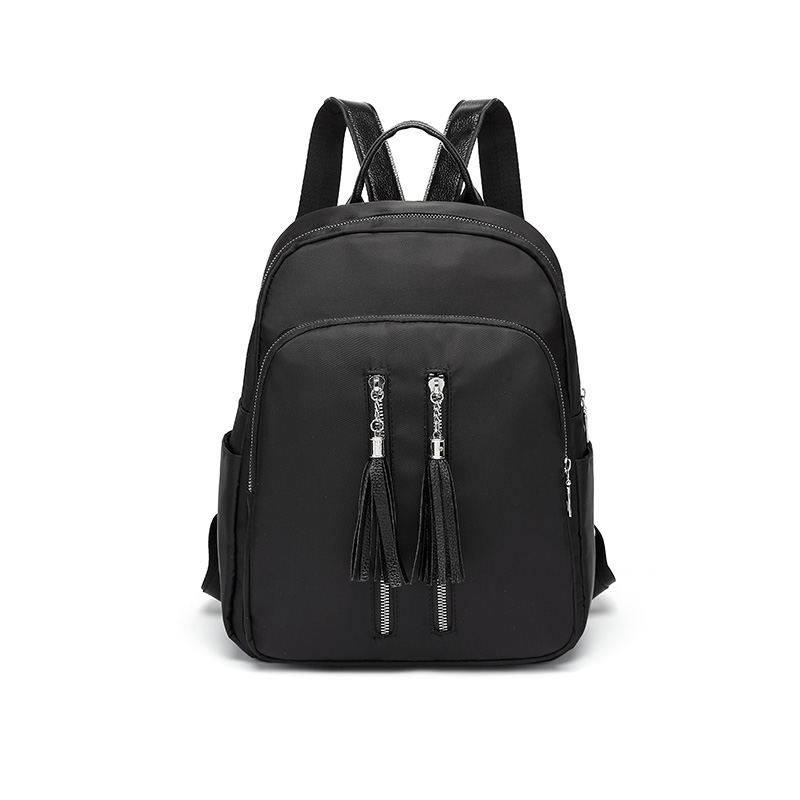 Women Backpack Black Shoulder Bags With Tassel Zipper Decoration Women Fashion Casual Bags Female School Girl Solid Color