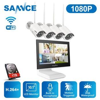 SANNCE-sistema de cámaras de seguridad NVR inalámbrico, 4 canales, 1080P, pantalla LCD de 10,1 pulgadas, visión nocturna, cámara IP de 2MP con 1TB