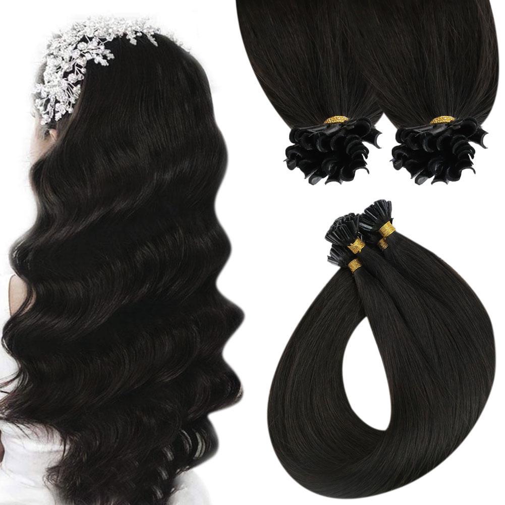 VeSunny Virgin U Tip Hair Extensions Pre Bonded Human Hair Extensions Nail Hair 1 Gram Per Strand Silk Straight Hair Nai Tip