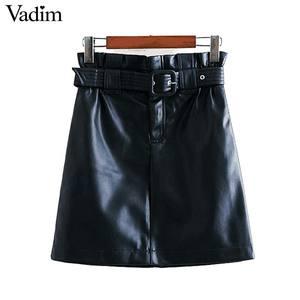 Image 3 - Vadim נשים עור מפוצל מוצק מיני חצאית רוכסן לטוס אלסטי מותניים כיסי עיצוב נשי אופנתי שיק בסיסי חצאית mujer BA857